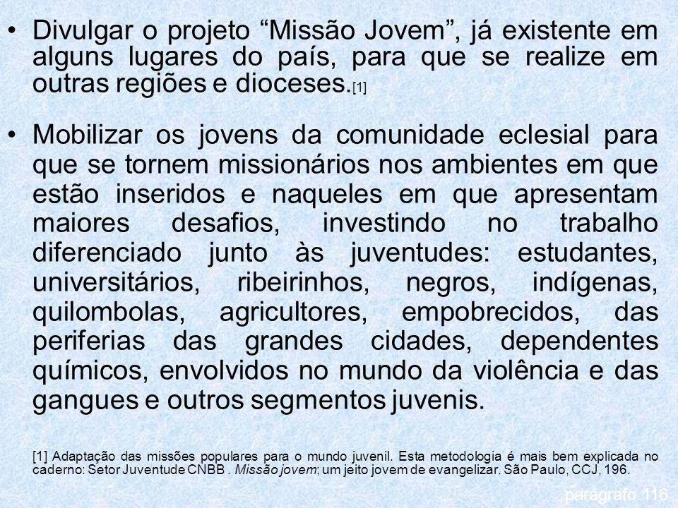Divulgar o projeto Missão Jovem , já existente em alguns lugares do país, para que se realize em outras regiões e dioceses.[1]